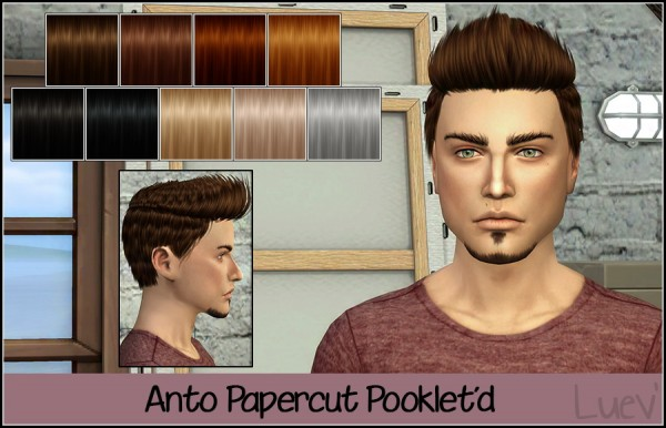 Mertiuza: Anto`s Papercut hair retextured for Sims 4