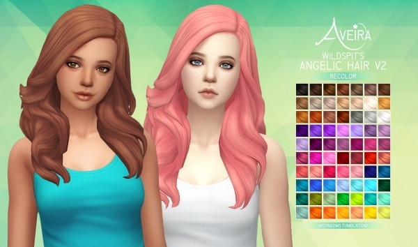 Aveira Sims 4: Wildspit's Angelic Hair V2   Recolor for Sims 4