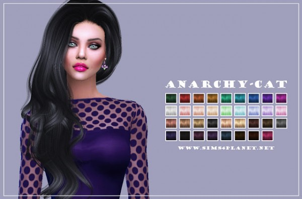 Anarchy Cat: Anto`s Dynasty hair retextured for Sims 4