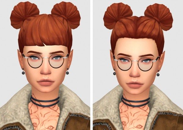 Tranquility Sims: Panda Buns and Bangs hair recolor for Sims 4
