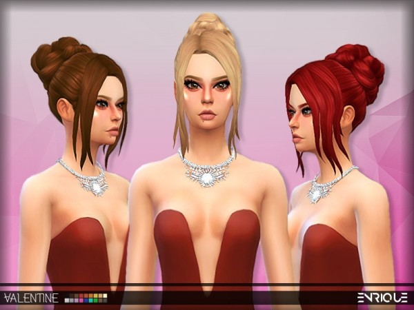 The Sims Resource: Enrique`s Romantic Hair retextured by Jruvv for Sims 4