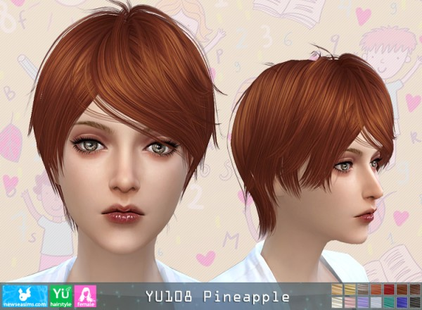 NewSea: YU 108 Pineapple hair for her for Sims 4