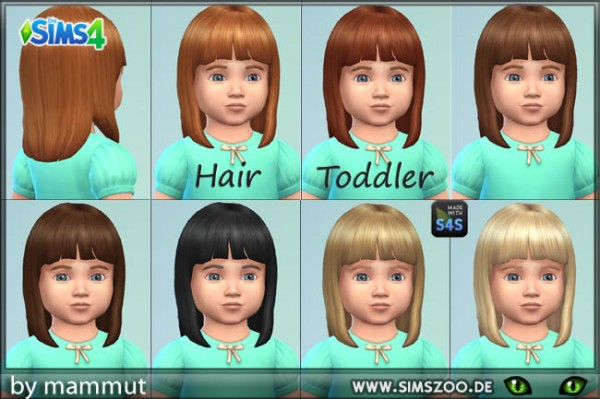 Blackys Sims 4 Zoo: Mid Straight Bangs R1 recolored by mammut for Sims 4