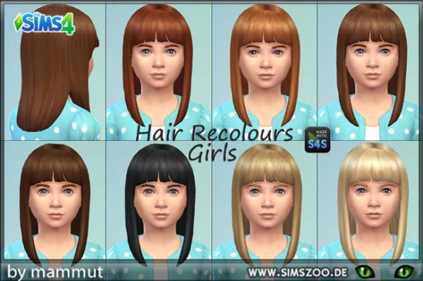 Birksches sims blog: Mid Straight Bangs R1 for girls recolored by mammut for Sims 4