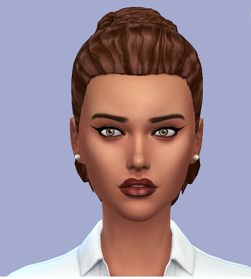 Choco Sims: Medium curly ponytail for Sims 4
