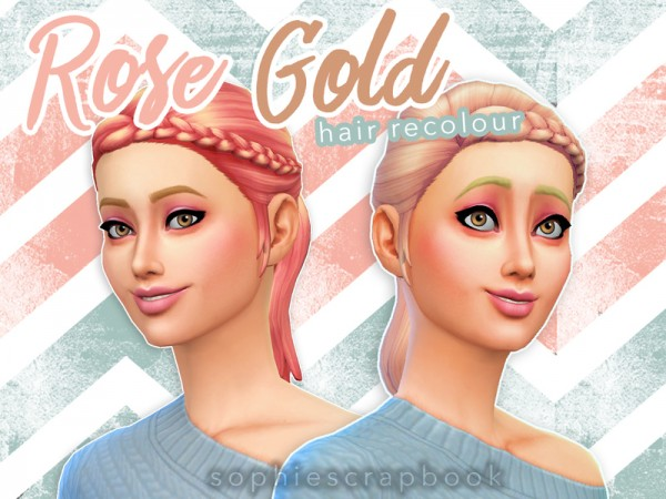 The Sims Resource: Rose Gold Hair   Braid Ponytail Recoloured by sophiescrapbook for Sims 4