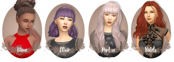 Miss Bunny Gummy: Chocolatemuffintop recolor dump   8 hairs recolored in 76 colors for Sims 4