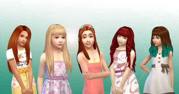 Mystufforigin: Girls Long Hair Pack 9 for Sims 4