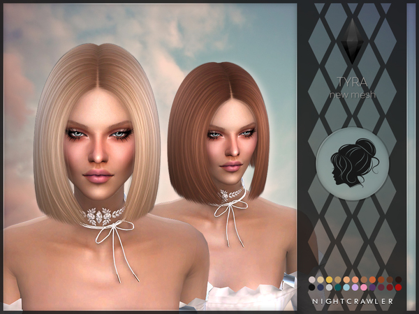 The Sims Resource: Tyra hair by Nightcrawler for Sims 4