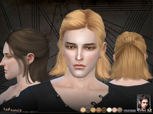 The Sims Resource: OS0306 MF hair by Wings Sims for Sims 4