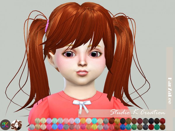 Studio K Creation: Animate hair 78 Judy for toddlers for Sims 4