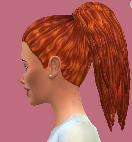 Choco Sims: Long Curl Ponytail hair retextured for Sims 4
