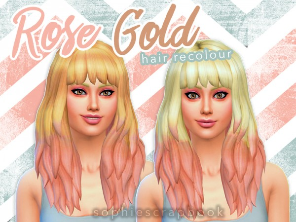 The Sims Resource: Rose Gold Hair   Ombre Recolour by sophiescrapbook for Sims 4