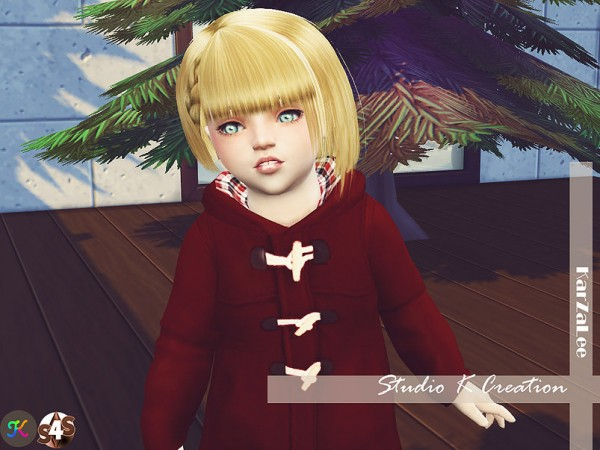 Studio K Creation: Animate hair 68   Chika toddler version for Sims 4