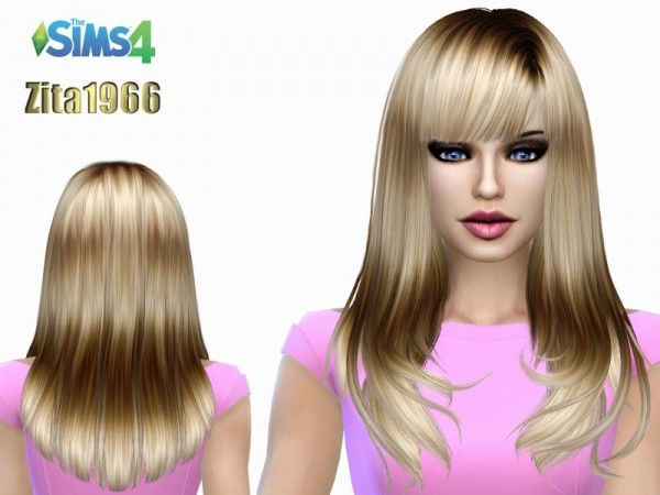 The Sims Resource: Anto`s Romance Highlights hair retextured by ZitaRossouw for Sims 4