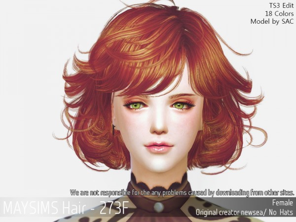 MAY Sims: May 273F hair retextured for Sims 4