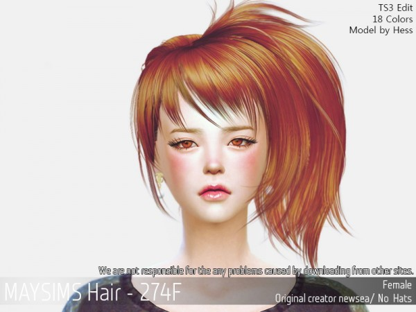 MAY Sims: May 274F hair retextured for Sims 4