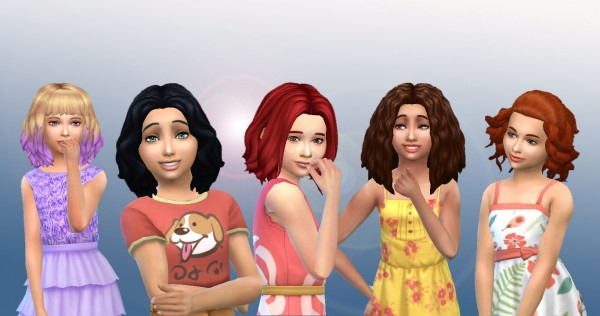 Mystufforigin: Girls Medium Hair Pack 4 for Sims 4