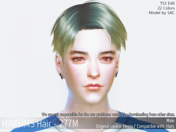 MAY Sims: MAY 277M hair retextured for Sims 4