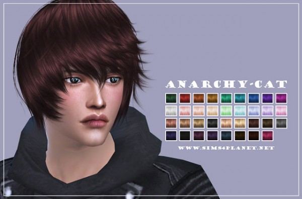 Anarchy Cat: Cazy`s 32b Notorious hair recolor for Sims 4