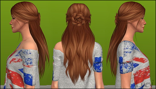 Mertiuza: LeahLillith`s Renaissance hair retextured for Sims 4
