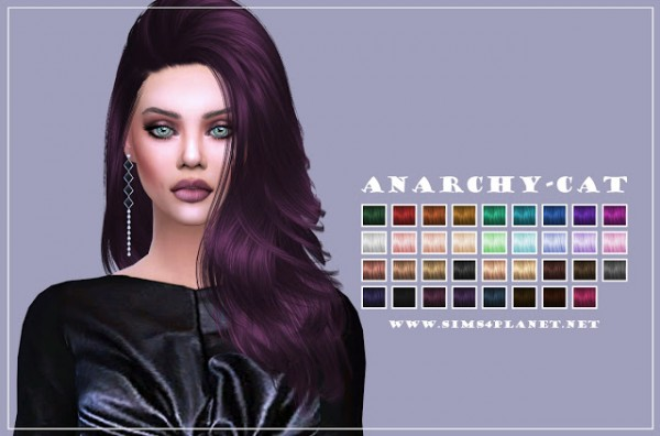 Anarchy Cat: Nightcrawler`s Da Bomb hair retextured for Sims 4