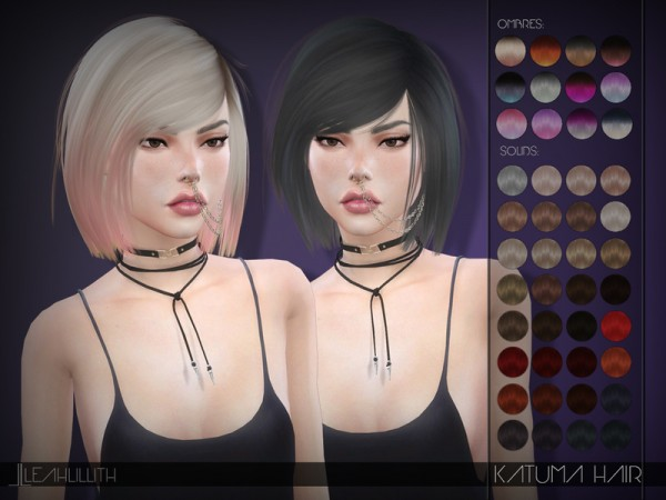 The Sims Resource: Katuma Hair by LeahLillith for Sims 4