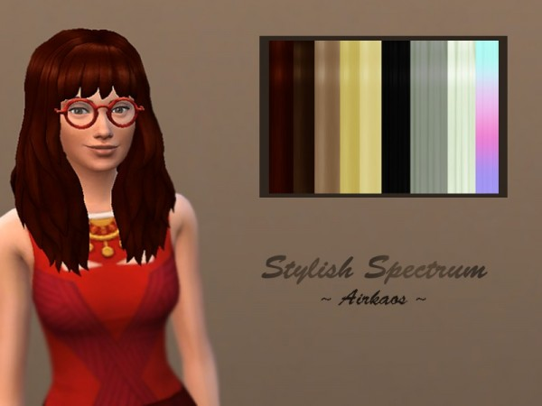 The Sims Resource: Luscious Spectrum hair recolored by airkaos for Sims 4