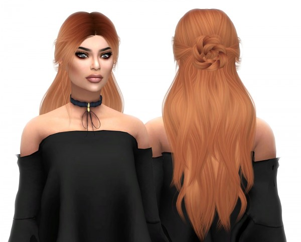 Kenzar Sims: LeahLillith`s Renaissance hair retextured for Sims 4