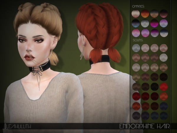 The Sims Resource: Endorphine Hair by LeahLillith for Sims 4