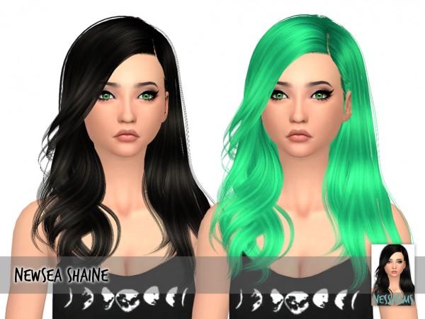 Nessa sims: Newsea`s shaine hair retextured for Sims 4