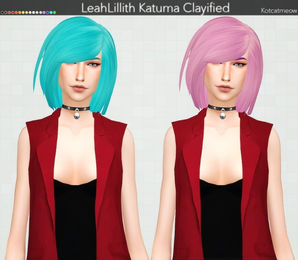 Kot Cat: LeahLillith`s Katuma Hair Clayified for Sims 4