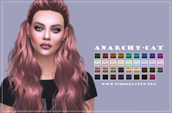 Anarchy Cat: Cazy`s Hannah hair recolored for Sims 4