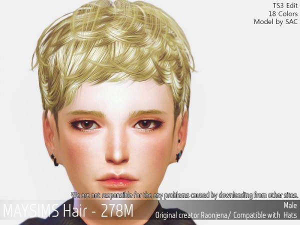 MAY Sims: May Hair 278M hair retextured for Sims 4