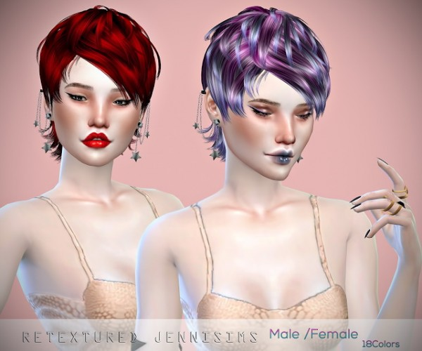 Jenni Sims: Newsea`s Heartquake Hair retextured for Sims 4