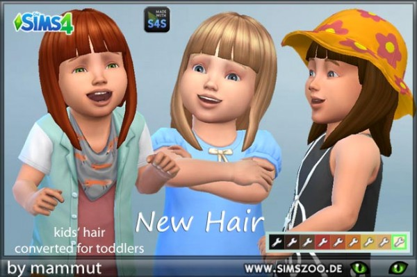 Blackys Sims 4 Zoo: Mid Straight Bangs hair recolored by mammut for Sims 4