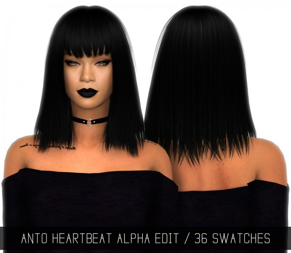 Simpliciaty: Anto`s heartbeat hair retextured for Sims 4