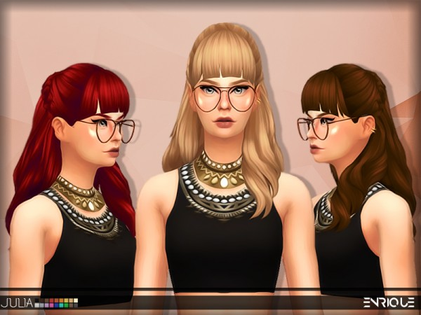 The Sims Resource: Enrique`s Julia Hair retextured by Jruvv for Sims 4