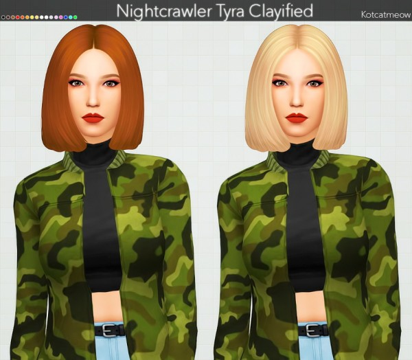 Kot Cat: Nightcrawler`s Tyra Hair Clayified for Sims 4
