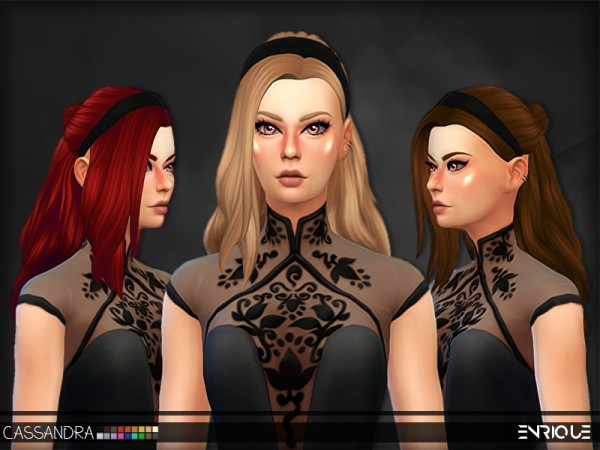 The Sims Resource: Enrique`s Cassandra Hair retextured by Jruvv for Sims 4