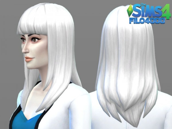 The Sims Resource: White Hair Recolor 18 by filo4000 for Sims 4
