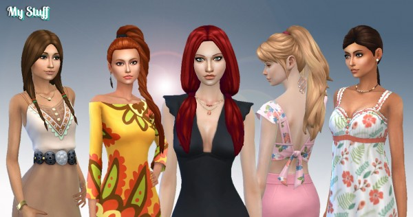 Mystufforigin: Tied Hairs Pack 5 for Sims 4