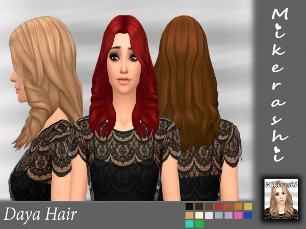Mikerashi: Daya Hair for Sims 4