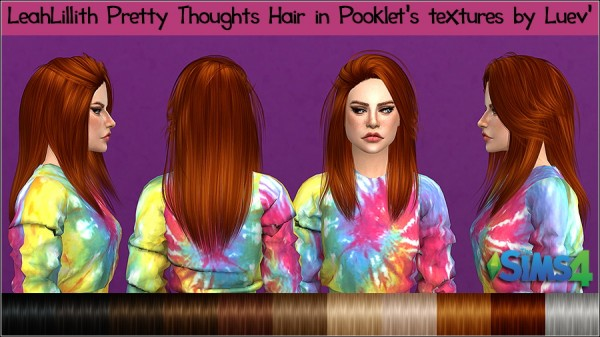 Mertiuza: LeahLillith`s Pretty Thoughts hair retextured for Sims 4