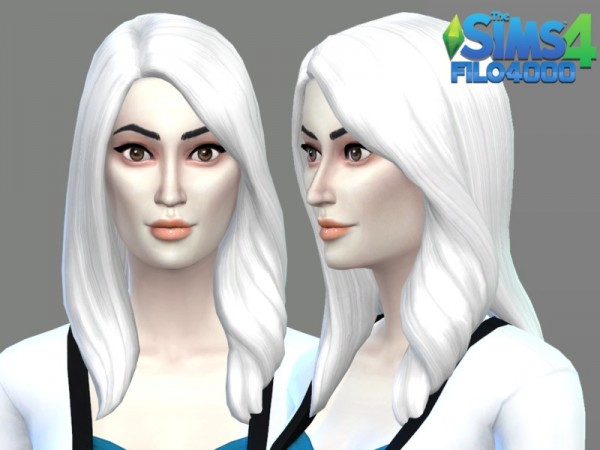 The Sims Resource: White Hair Recolor 19 by filo4000 for Sims 4