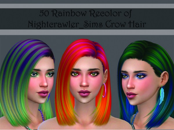 The Sims Resource: Nightcrawler Crow Rainbow hair recolored by Lorwyn for Sims 4