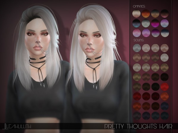 The Sims Resource: Pretty Thoughts Hair by LeahLillith for Sims 4