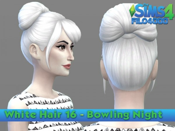 The Sims Resource: White Hair Recolor 16 by filo4000 for Sims 4