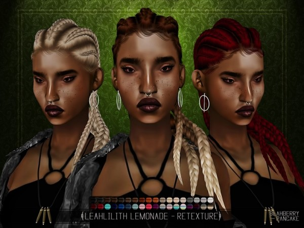 The Sims Resource: LeahLilith`s Lemonade hair retextured by BlahberryPancake for Sims 4