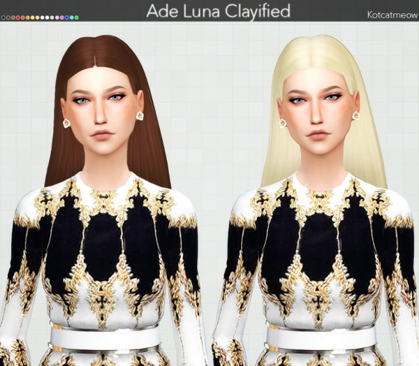 Kot Cat: Ade`s Stefanie Hair Clayified for Sims 4